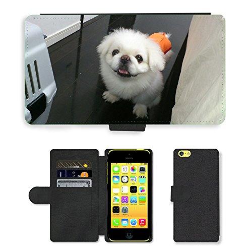 Just Mobile pour Hot Style Téléphone portable étui portefeuille en cuir PU avec fente pour carte//m00138313Lion Maru pour chien pékinois Lair//Apple iPhone 5C