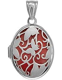 Plata de ley Oval Locket colgante con diseño de flores y mariposas y Interior rojo