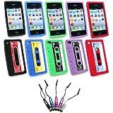 Emartbuy ® Apple Iphone 4S 4G 4Gs HD - Bundle Von 5 Metallic Mini Stylus + Bundle Pack Of 5 Kassetten Silicon Skin Cover / Case - Lila, Rot, Blau, Schwarz Und Grün
