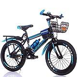 FJW Unisex Mountain Bike velocità Singola 18 Pollici 20 Pollici 22 Pollici 24 Pollici Alunno Bambino Commuter City Bicicletta con Set Regalo,Blue,20Inch