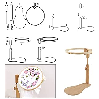 Embroidery Hoop Frame Set Cross Stitch Easy Clip Wood Sewing Hoops Adjustable Wooden Ring Circle Needlework Craft Tools Cross-Stitch Stand Log Disc Support Tool