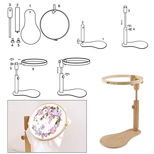 Set de aros de costura para bordado de punto de cruz, fácil de enganchar, aros de madera ajustables, anillo de madera, para hacer manualidades, soporte de punto de cruz, herramienta de soporte de disco