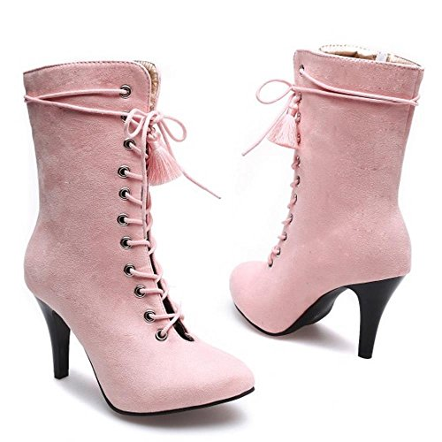 Taoffen Bottes À Talons Hauts Féminin Fashion Shoes Cut Out Zipper Pink