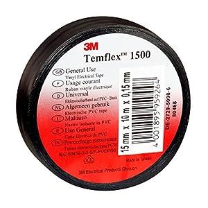 3m tsch1525temflex 1500vinile nastro isolante elettrico, 15mm x 25m, 0,15mm, Nero 516YTn6fLML. SS300