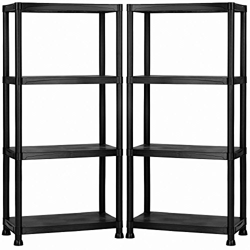 2x-oypla-4-tier-black-plastic-heavy-duty-shelving-racking-storage-unit
