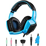PS4 Gaming Headphone,SADES SA-920 Stereo Gaming Over-Ear Headphone Headset Headband with Microphone for PlayStation4 PS4 Xbox 360 PC Mac iPhone Smart phone(Blue)