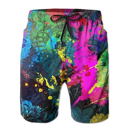 Beachsite Colourful Paint Splatter Men's/Boys Casual Shorts Swim Trunks Swimwear Elastic Waist Beach Pants with Pockets Medium -