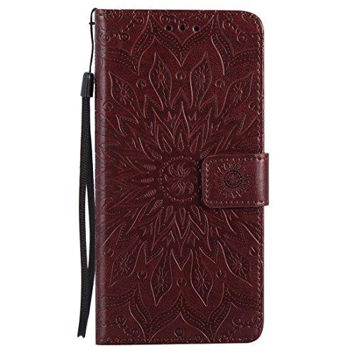 Yaking® Apple iPhone 7 Plus PU Portefeuille Étui Coque Stand Flip Housse Couvrir impression Case Cover brun