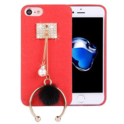 Proteggi il tuo iPhone, Per il caso di protezione del cuoio dellunità di elaborazione del panno della peluche del pendente della polvere del metallo dellanello del diamante di iPhone 7 per il iPhone Rosso