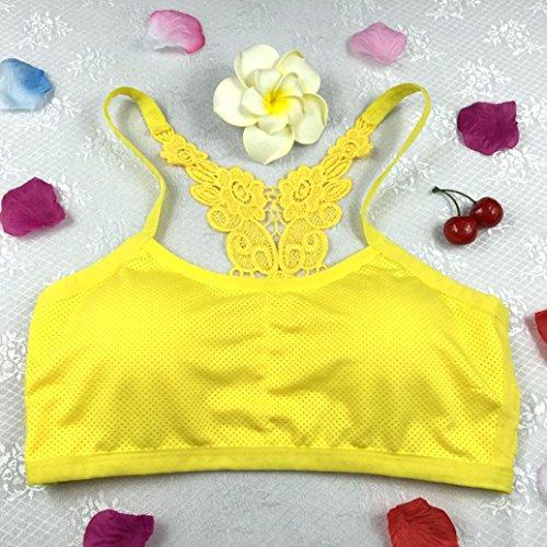 Tonsee Femmes Sport Yoga Athletic Solid Wrap Chest Strap Vest Tops Soutien-gorge Jaune