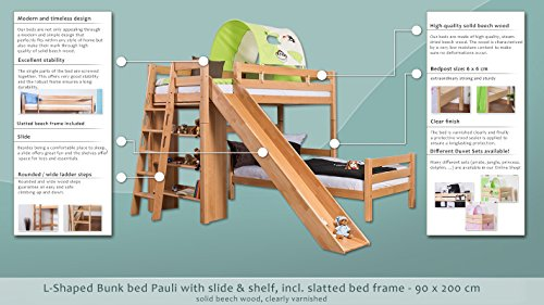 Children's bed / Bunk bed Pauli with shelf & slide, clearly varnished, solid beech wood, convertible, incl. slatted frame - 90 x 200 cm
