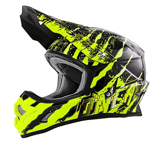 O'Neal 3Series MX Helm Mercury Schwarz Neon Gelb Motocross Enduro Quad Offroad Cross, 0623-43, Größe XL (61/62 cm)