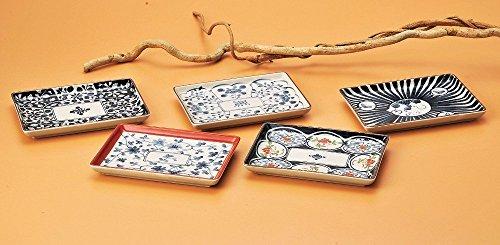 SaikaiToki Altes Japanisches Muster, Lange Platten, Sushiteller (5 Teller 5 Schalen) aus Japan 31834
