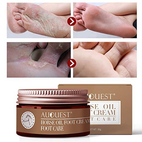 AJUMKER Horse Oil Fußcreme Fußpflegecreme Feuchtigkeitsspendende Juckreizblasen Repair Anti-Chapping Glättung Anti-Pilz Peeling Fußpflege