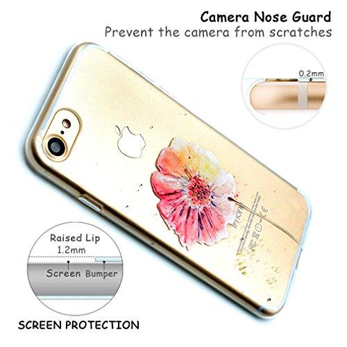 Custodia Cover per iPhone 6s Silicone, Cover iPhone 6 Silicone Morbido TPU Trasparente, OUJD Protective Case TPU Gel Ultra Sottile Cassa Protettiva Design per iPhone 6 / 6S - Ragazza Farfalla Fiori