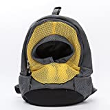 Paramount City Pet Carrier, Breathable Double Shoulder Dog Pet Puppy Bags Backpack Knapsack Rucksack Cat Carrier Packsack Travelling Pet Holder Bag for Biking, Hiking, Trip, Shopping (Small, Yellow)