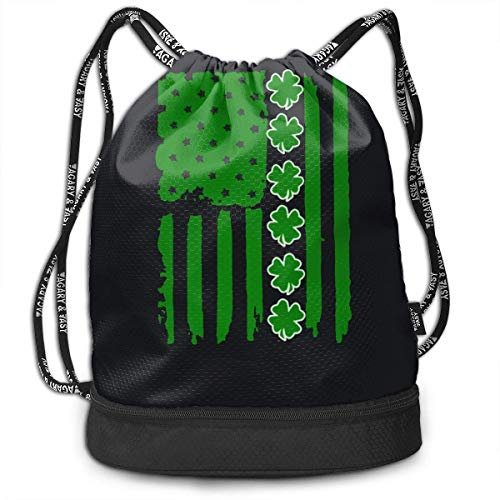 Kordelzug Taschen Sporttasche Irish Shamrock ABCDEF Cool Drawstring Bags Bundle Backpack Beach String Rucksack Cinch Bag Lightweight Swiming Daypack Unisex Gym Sports Yoga Climbing for Women Man