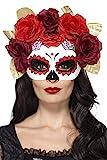 Smiffys Semimáscara de Rosas del día de Muertos, Rojo