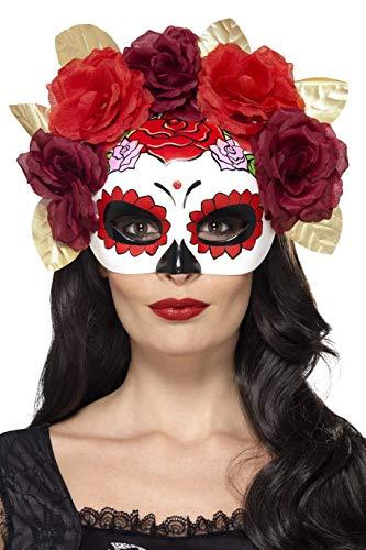 Smiffys Damen Tag der Toten Rosen Augenmaske, One Size, Rot, 44883