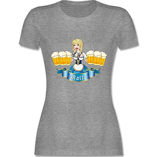 Urlaub - Malle Bier Mädl - tailliertes Premium T-Shirt mit Rundhalsausschnitt für Damen Grau Meliert