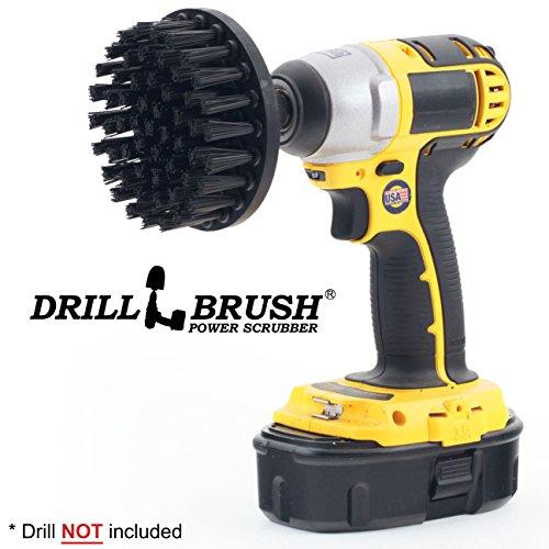 Drillbrush 4 Zoll-Durchmesser ultra harte Nylonbürste verwendete für Heavy Duty Ziegel- und Steinreinigung mit Schnellwechselwelle schwarz