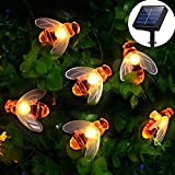 [50 LED] Solar Garden Lights, Honey Bee Fairy String Lights,7M/24Ft 8 Mode Waterproof Outdoor/Indoor Garden Lighting for Flower Fence, Lawn, Patio, Festoon, Summer Party, Christmas,Holiday(Warm white)