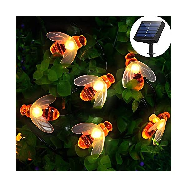[50 LED] Solar Garden Lights, Honey Bee Fairy String Lights,7M/24Ft 8 Mode Waterproof Outdoor/Indoor Garden Lighting for Flower Fence, Lawn, Patio, Festoon, Summer Party, Christmas,Holiday(Warm white) 516YZHFVE0L