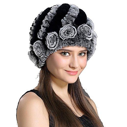 Befur Damen Rex Kaninchen Fell Winter Mütze Beanie Cape Baskenmütze Russische Hut mit Fuchspelz Kugel - Regenbogen (Russischen Hut Für Frauen)