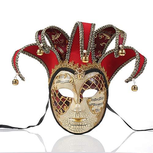 Kostüm Red Jester - Jiahe Masken, handgemalte Maske, Jester-Kostüm für Karneval, Masquerade-Kostümzubehör,Red