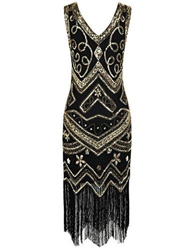 PrettyGuide Damen Flapper Kleid 1920er Gatsby Perlen Pailetten Cocktailkleid S Gold - 3