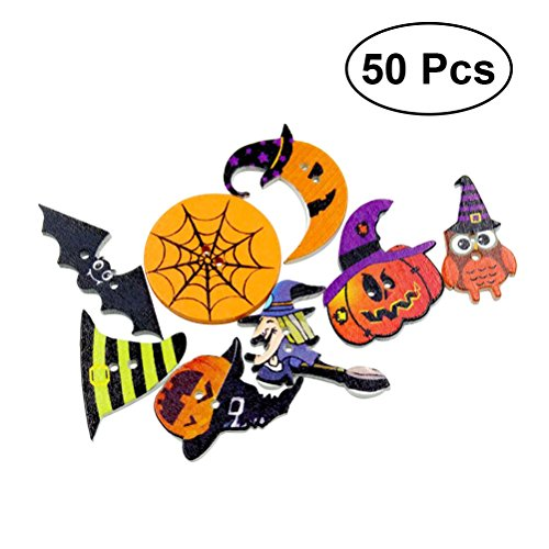 HEALIFTY 50 Stücke 2-Loch Halloween Holz Nähen Knöpfe Kostüm Malerei Dekorative Knöpfe zum Nähen DIY Crafting