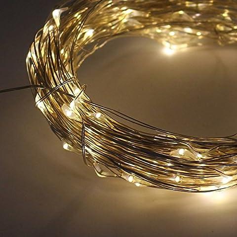 KYG Cadena de LED Impermeable 10 Metros con 100 Diodos Internos Micro Alambre de Cobre Blanco Cálido para Navidad Fiestas Decoración de Casa