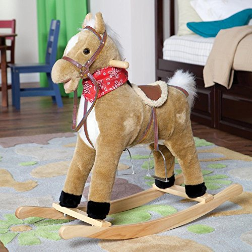 childs-kids-plush-rocking-horse-neighing-sounds-moving-mouth-tail-ride-on-toy-beige