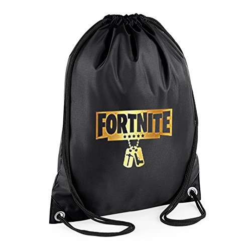 SMG® Fortnite Black Gold Battle Royale Dog Tag Gym Bag, Swimming Bag, Gymsac, Drawstring Bag, Water Resistant