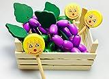 Elfenstall Kaufladen Zubehör Set|Holz |Holzkiste gefüllt |Lebensmittel für Spielküche|Weintrauben & Lutscher aus Holz|Candy | Tante Emma Kinder Kaufmannsladen Einkaufsladen