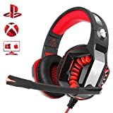 Beexcellent Cascos Gaming PS4, Auriculares Gaming con Micrófono Suave y Alta Definición Bass Surround Cancelacion Ruido, Equipado con Luces LED y Orejeras Cómodas, para PS4 PC Xbox One Tableta Laptop
