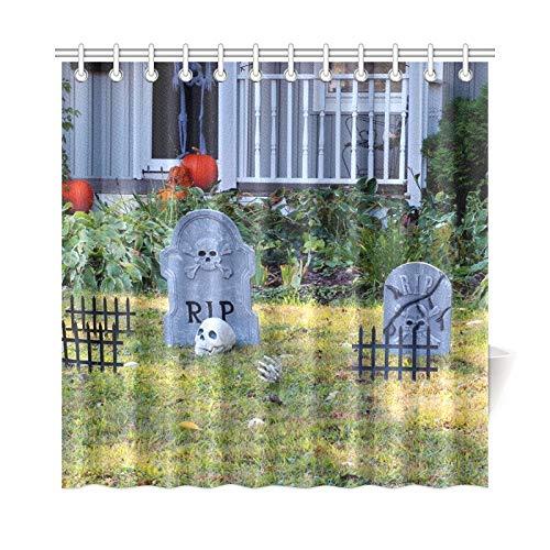 ad Vorhang Halloween Outdoor Dekoration Vorgarten Private Polyester Stoff Wasserdicht Duschvorhang Für Bad, 72X72 Zoll Duschvorhänge Haken Enthalten ()