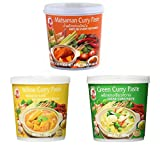Cock Brand - Probierset Currypasten - 3er Pack (3 x 400g) - 3 Sorten, je 1 Dose Grüne, Gelbe,Matsaman Currypaste