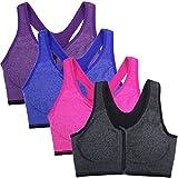 DODOING Damen Sport BH Starker Halt Reißverschluss Gepolstert BH ohne Bügel Push Up BH für Top Yoga Fitness Training, 1/2/3er Pack