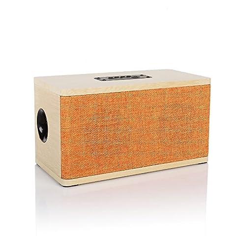 Radioddity Bluetooth 4.0 Bois Table Orateur FM Table Radio, 10W Dual Sans fil Haut-parleur, Hands-free Call MP3 Player Supports TF Carte jaune bois