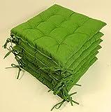Set 6 x Stuhlkissen / Sitzkissen Fabia mit Schleifen 40 x 40 cm Dicke 5 cm , Fb. dunkelgrün ,...