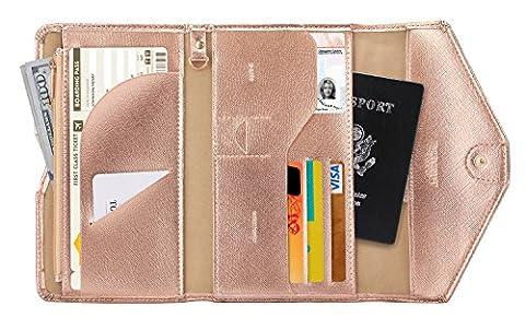 Zoppen Mulit-purpose Rfid Blocking Travel Passport Wallet (Ver.4) Tri-fold Document Organizer Holder, #5 Rose Gold
