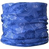 Braga para el cuello, pañuelo de microfibra multifunción, diseño de azul y flores de color púrpura