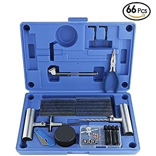 AUTOWN Reifenreparatur Reifen Reparatur Set 66 Stück für Motorrad, ATV, Jeep, LKW, PKW, Traktor Flat Reifen Punktion Reparatur, Blau