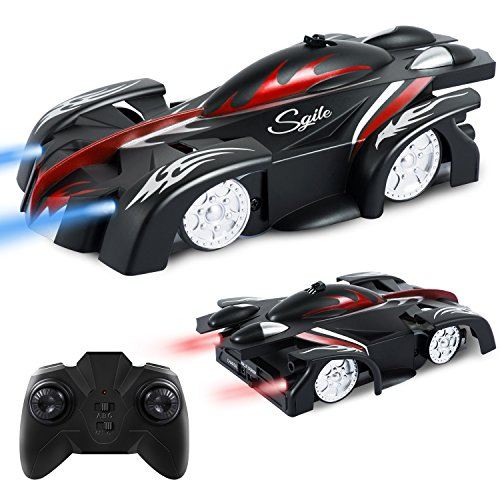 SGILE Remote Control Car Toy, New Version Wall Climbing Climber Car , Dual Mode 360� Rotating Stunt Racing Vehicle, LED Head Rechargeable Gravity Defying, Present for Kids Boy Girl Birthday