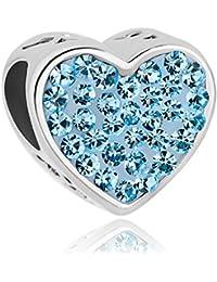 Abalorio de Uniqueen Fit Charms, amatista, con cristales incrustados, apto para pulseras Pandora