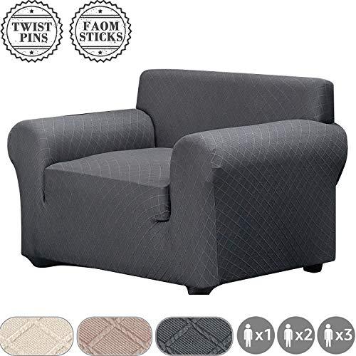 Fuloon Stretch Sofabezug, Spandex Sofa Überwürfe Couchbezug Elastische Sofahusse Antirutsch Sofa Abdeckung 82-122cm (1 Sitzer, Grau)