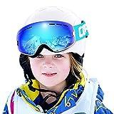 Skibrille Kinder ,Ski Snowboard Brille Brillenträger Snowboardbrille Schneebrille Verspiegelt - Für Junior Jungen Mädchen OTG Anti-UV Anti-Fog (Weiß Blau)
