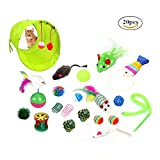 YUEYANG cute Kitty Fun Toys InterActive tunnel per gatti 20pezzi, 2vie, bicchiere , Cat Feather Teaser Wand Toy Fluffy mouse, Crinkle palle campane per gatto, Puppy, Kitty