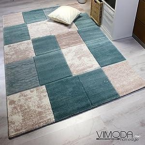 VIMODA Modern Edler Designer Teppich, Kariert und Meliert in Türkis Beige Creme, Sehr Dicht Gewebt - ÖKO Tex Zertifiziert, Maße:160 cm x 230 cm